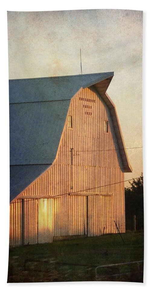 Barn Beach Towel featuring the photograph Sunset On A Barn by Cassie Peters