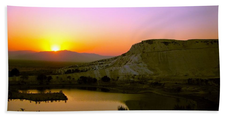 Sunset Beach Towel featuring the photograph Sunset On Cotton Castles by Zafer Gurel