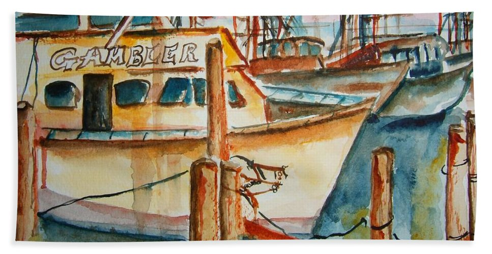 Boat Beach Towel featuring the painting Sunset On The Gambler by Elaine Duras