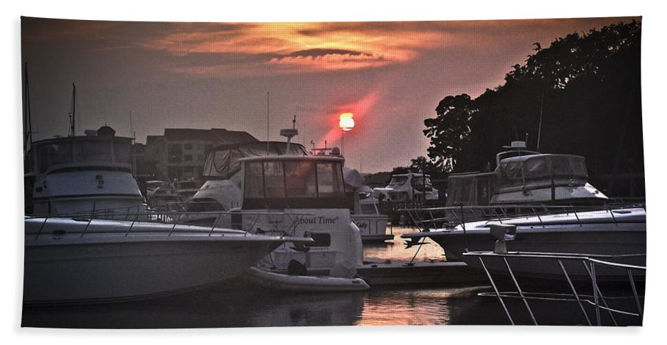 Water Beach Towel featuring the photograph Sunset On The Island by Deborah Klubertanz