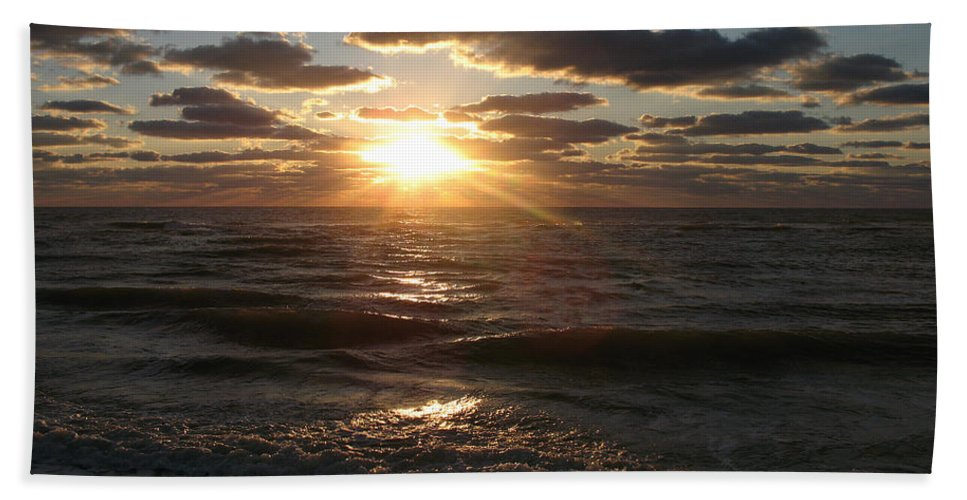 Sunset Beach Towel featuring the photograph Sunset On Venice Beach by Christiane Schulze Art And Photography