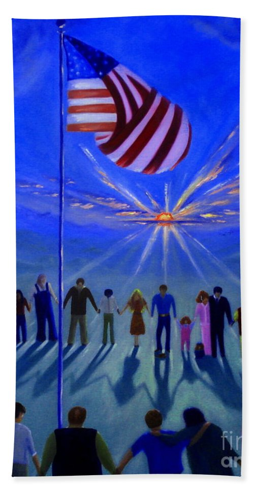 American Flag Beach Towel featuring the painting Sunset Or Sunrise by Rebecca Hendrix