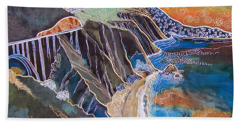 Beach Towel featuring the painting Sunset Over Big Sur by Gideon Cohn