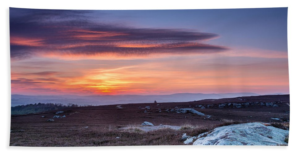 Northumberland Beach Towel featuring the photograph Sunset Over Cheviot Hills by David Head