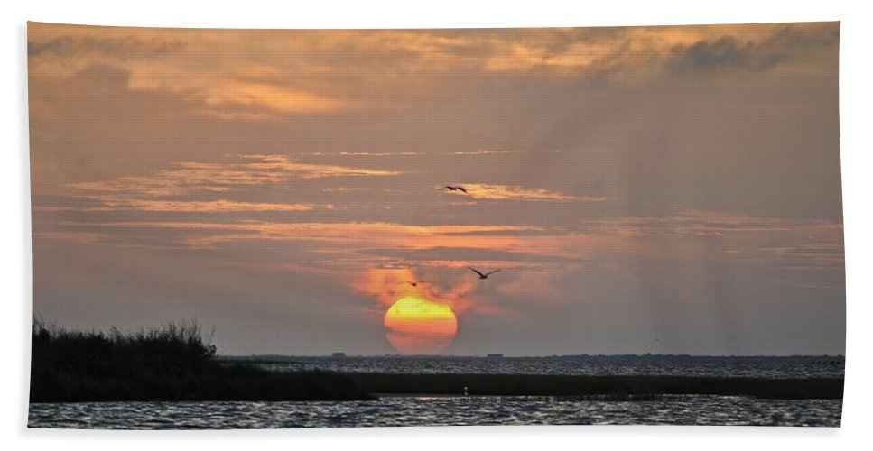 Galveston Beach Towel featuring the photograph Sunset Over Lake Como by Kristina Deane