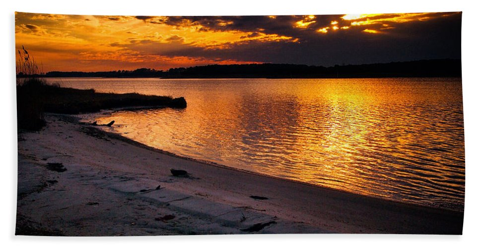 Sunset Beach Towel featuring the photograph Sunset Over Little Assawoman Bay by Bill Swartwout Photography