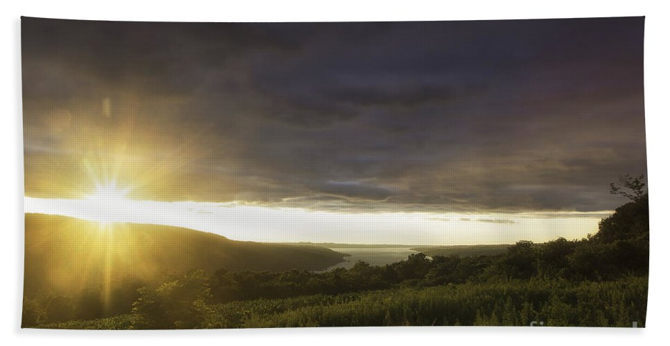 Michele Beach Towel featuring the photograph Sunset Over Skaneateles by Michele Steffey
