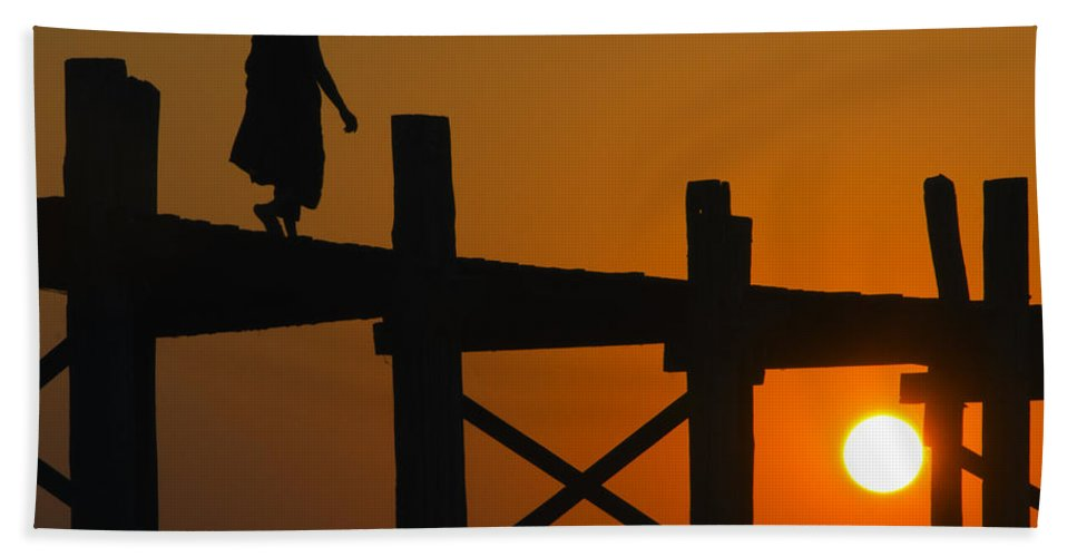 Myanmar Beach Towel featuring the photograph Sunset Over The U Bein Foot Bridge by Claude LeTien