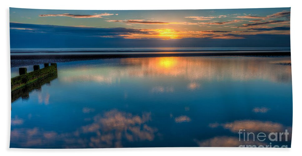 British Beach Towel featuring the photograph Sunset Reflections by Adrian Evans