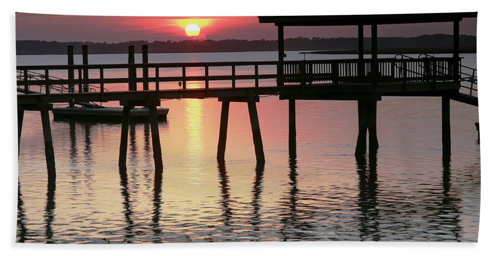 Sunset Beach Towel featuring the photograph Sunset Reflections by Phill Doherty