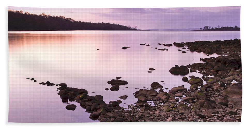 Background Beach Towel featuring the photograph Sunset Rocks by Tim Hester