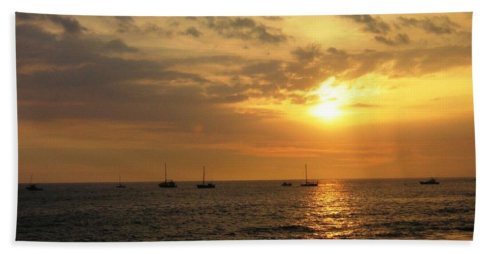 Sunset Beach Sheet featuring the photograph Sunset Sailing by Crystal Miller