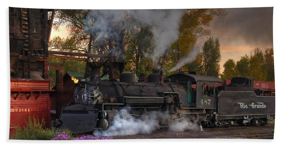 Steam Train Photographs Beach Towel featuring the photograph Sunset Steam by Ken Smith