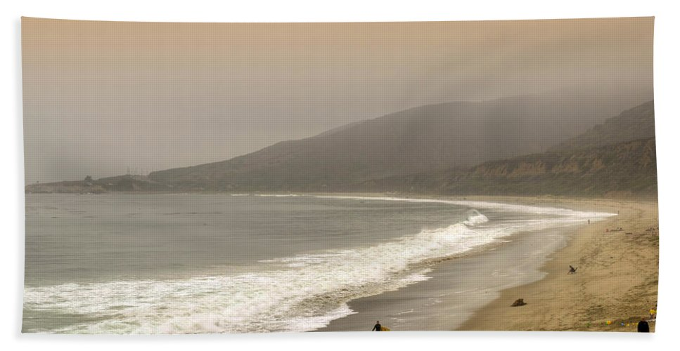 Nicholas Beach Towel featuring the photograph Sunset Surf by Ricky Barnard
