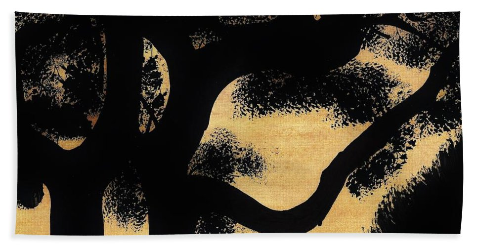 Sunset Beach Towel featuring the drawing Sunset Through The Oak Trees by D Hackett