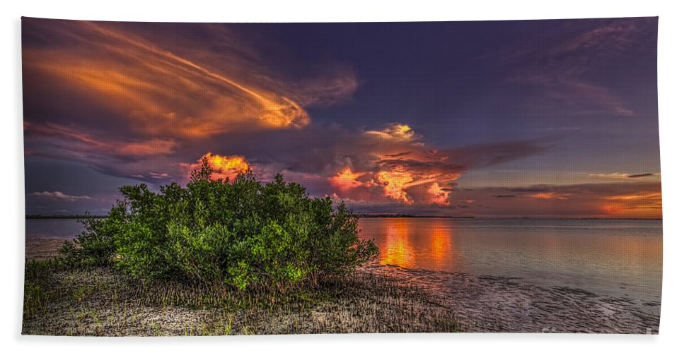 Clearwater Beach Towel featuring the photograph Sunset Thunder Storms by Marvin Spates