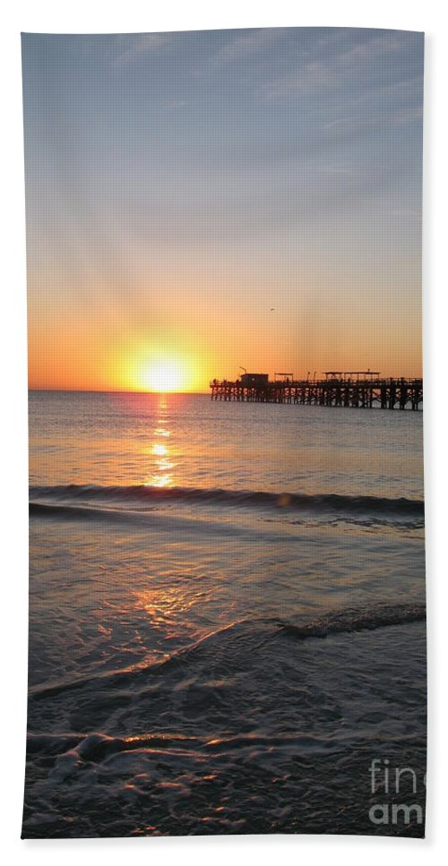 Sunset Beach Towel featuring the photograph Fishingpier Sunset by Christiane Schulze Art And Photography