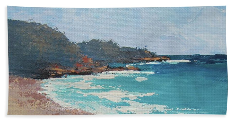 Seascape Beach Towel featuring the painting Sunshine Beach And Lions Head Noosa Heads Queensland by Chris Hobel