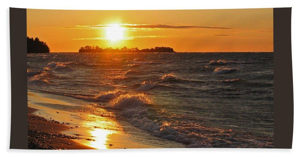 Sunset Beach Sheet featuring the photograph Superior Sunset by Ann Horn