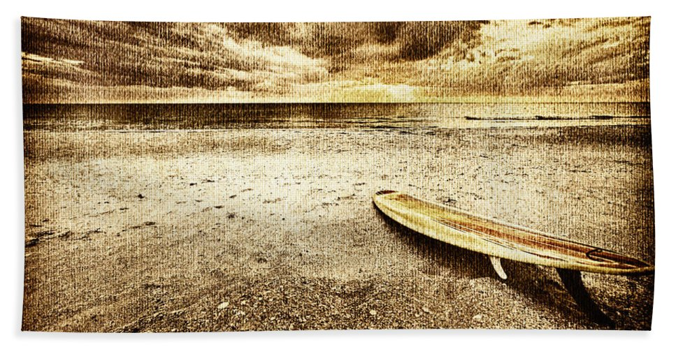Surfboard Beach Towel featuring the photograph Surfboard On The Beach 2 by Skip Nall