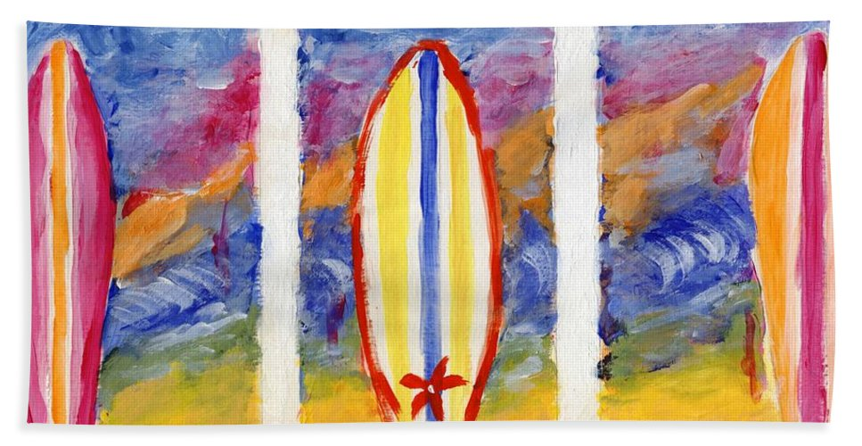 Surf Beach Towel featuring the painting Surfboards 1 by Jamie Frier