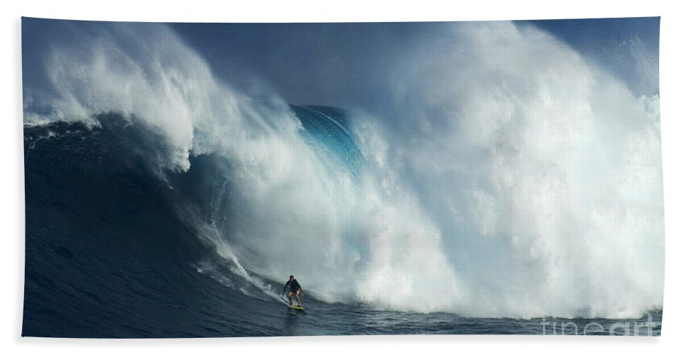Jaws Beach Towel featuring the photograph Surfing Jaws Surfing Giants by Bob Christopher