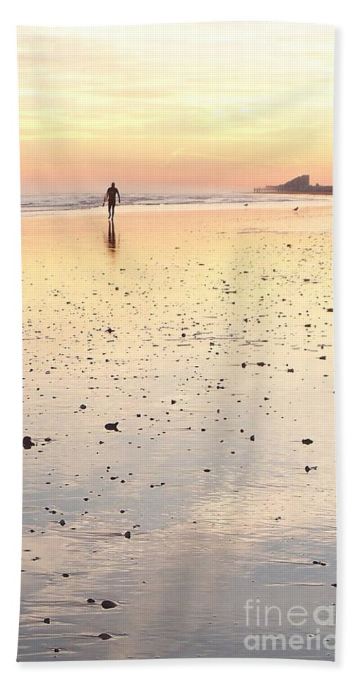 Surfing Beach Towel featuring the photograph Surfing Sunset by Eric Schiabor