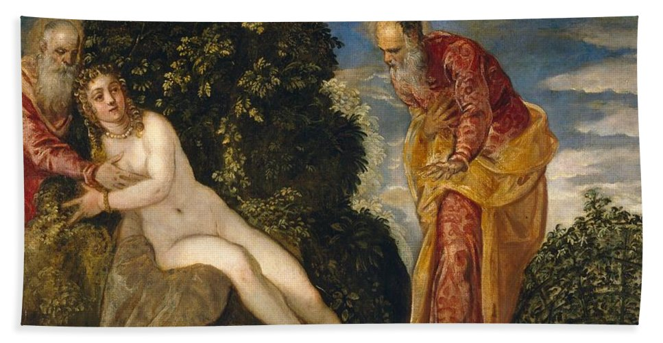 1552-1555 Beach Towel featuring the painting Susannah And The Elders by Tintoretto