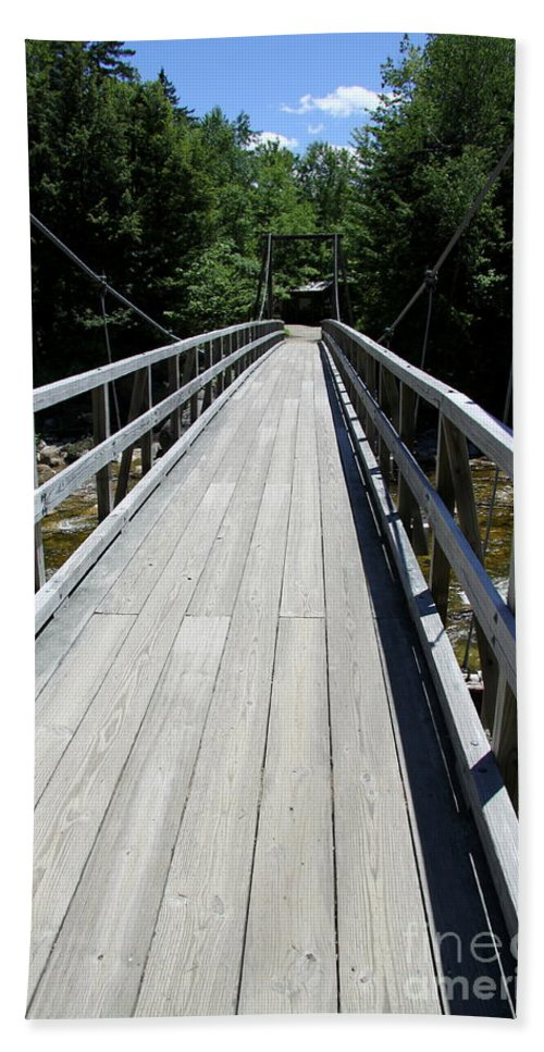 Bridge Beach Towel featuring the photograph Suspension Bridge Over Pemigewasset River Nh by Christiane Schulze Art And Photography