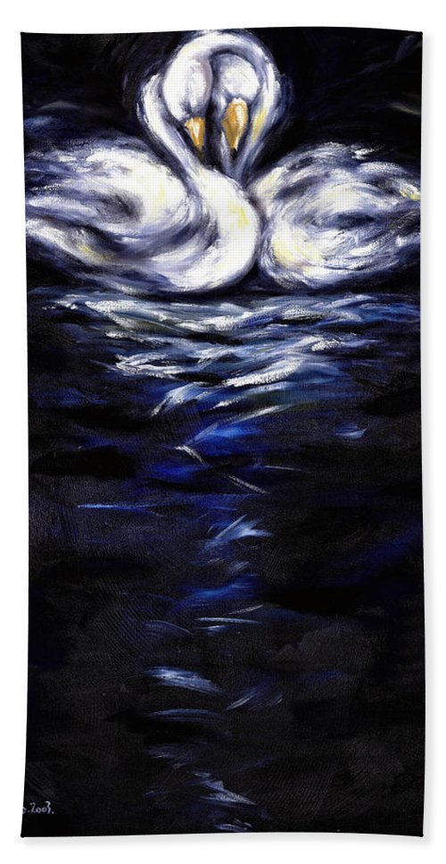 Bird Beach Towel featuring the painting Swan by Hiroko Sakai