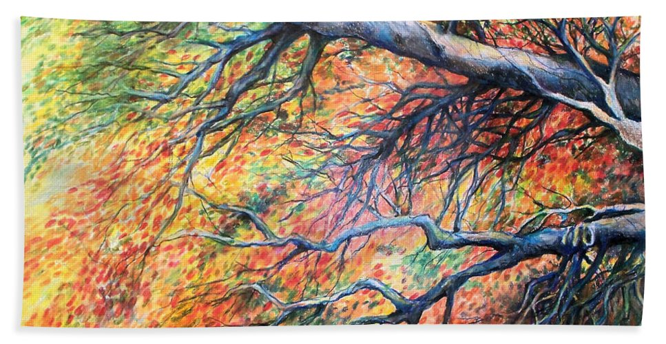 Landscape Beach Towel featuring the drawing Sway Dancing Trees by Linda Shackelford