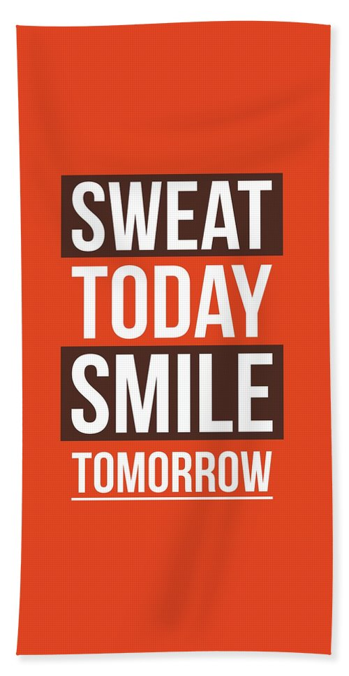 Sweat Today Smile Tomorrow Gym Motivational Quotes Poster Beach Sheet