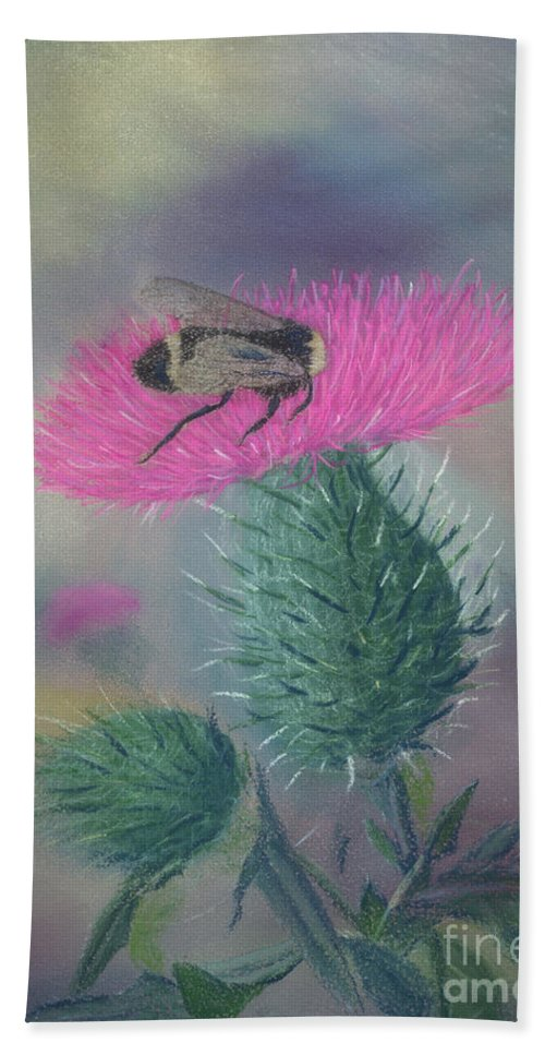 Thistle Beach Towel featuring the painting Sweet And Prickly by Lynn Quinn