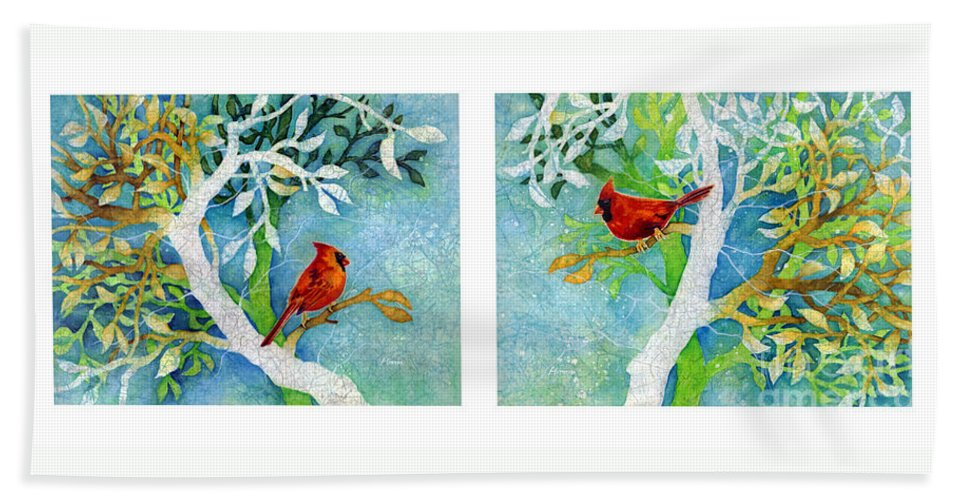 Northern Cardinal Beach Towel featuring the painting Sweet Memories Diptych by Hailey E Herrera