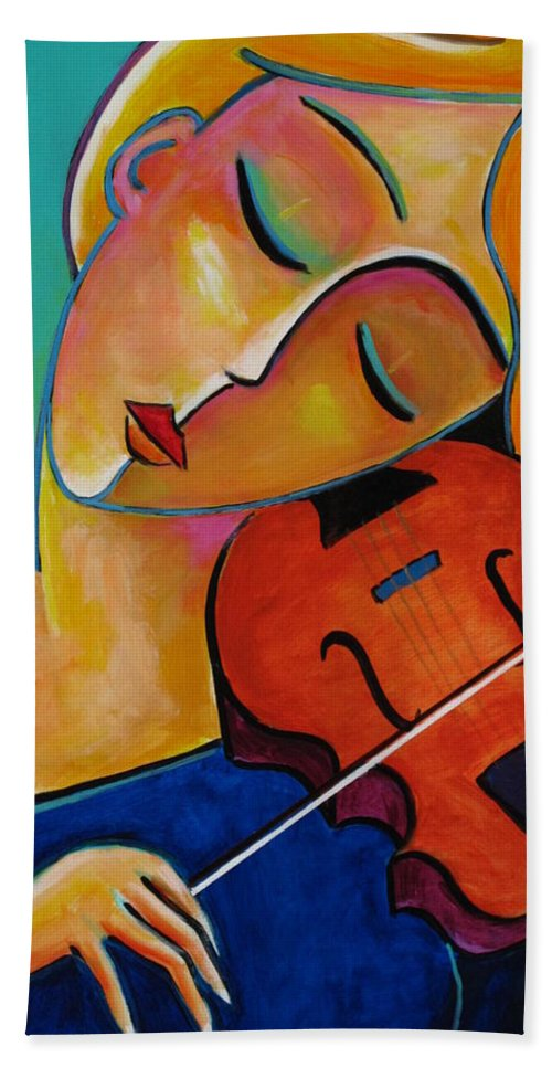 Violinist Beach Towel featuring the painting Sweet Music by Stuart Glazer