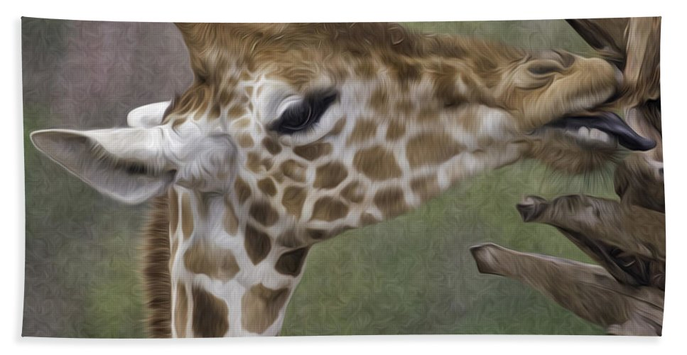 Giraffe Beach Towel featuring the photograph Sweet Palm Pixelated by James Ekstrom