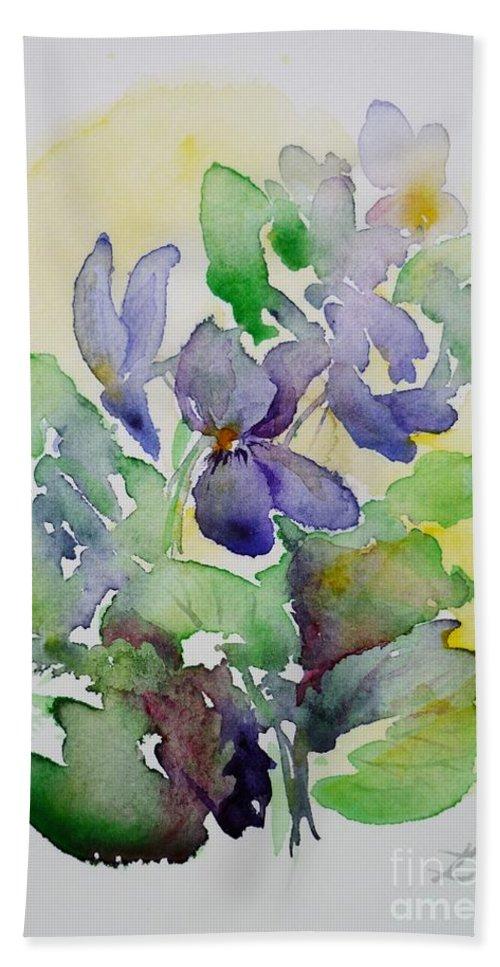 Violet Beach Towel featuring the painting Sweet Violets by Zaira Dzhaubaeva