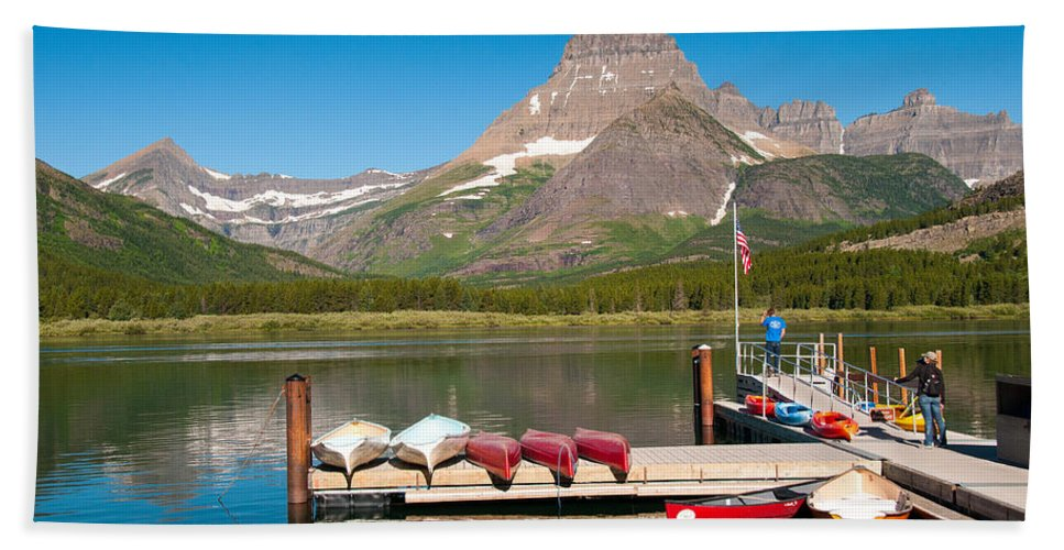 Glacier Beach Towel featuring the photograph Swiftcurrent Lake by Steve Stuller