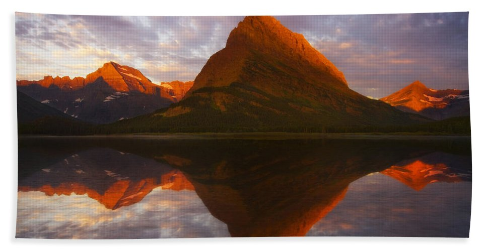 Swiftcurrent Lake Beach Towel featuring the photograph Swiftcurrent Reflection by Peter Coskun