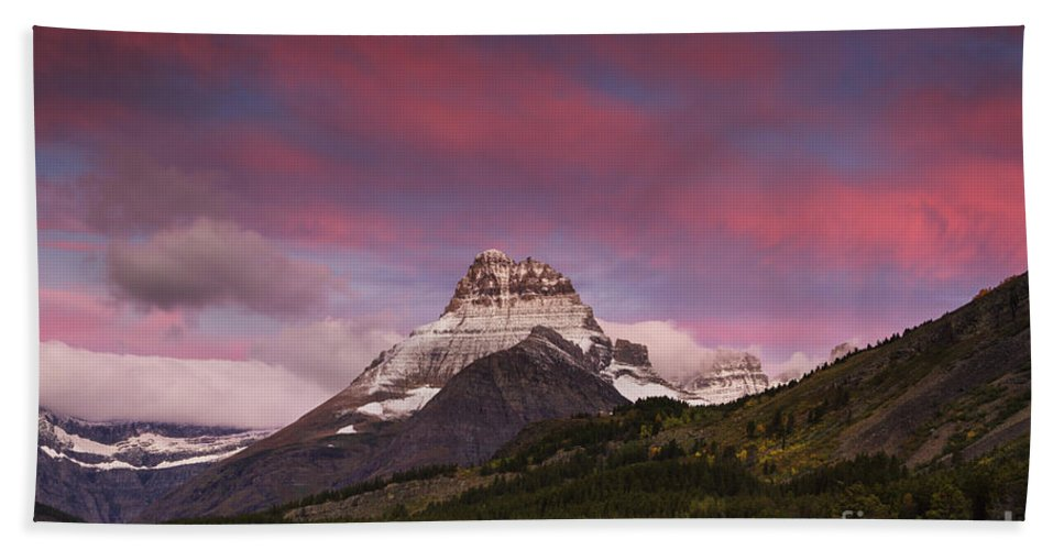 Calm Beach Towel featuring the photograph Swiftcurrent Sunrise by Mark Kiver