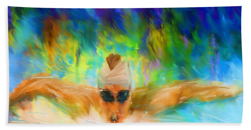 Swimming Beach Towel featuring the digital art Swimming Fast by Lourry Legarde