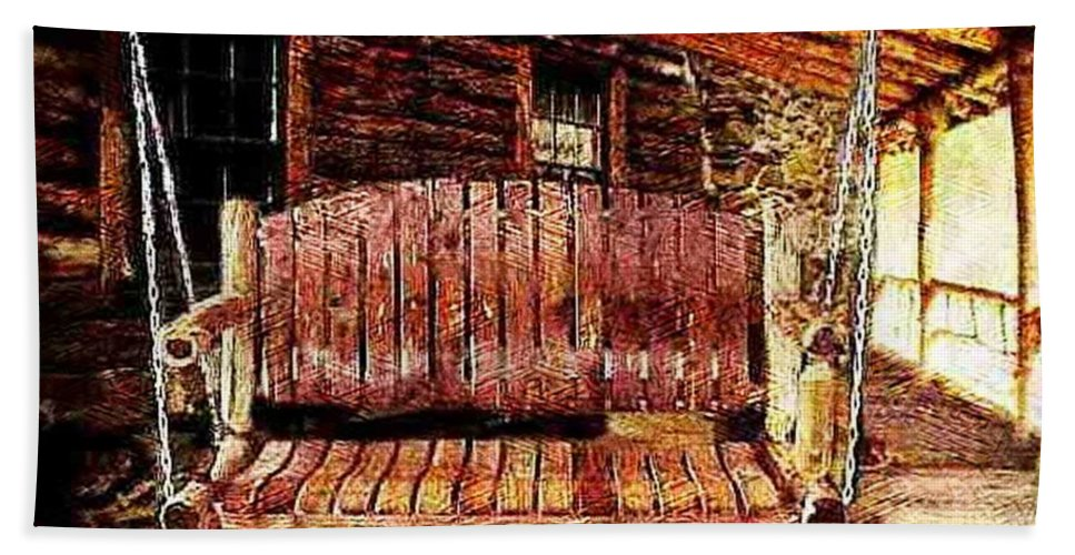 Porch Beach Towel featuring the photograph Swing Low by Ellen Cannon