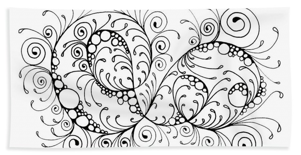 Black And White Beach Towel featuring the drawing Swirl Haven - Horizontal by Cindy Angiel