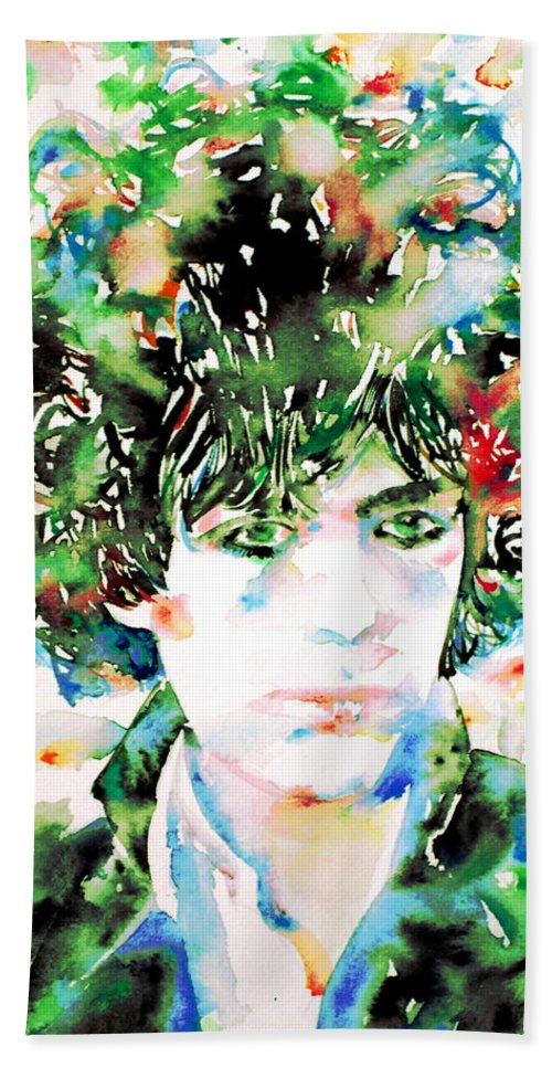 Pink Beach Towel featuring the painting Syd Barrett Watercolor Portrait.1 by Fabrizio Cassetta