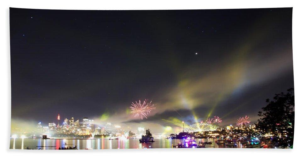 Fireworks Beach Towel featuring the photograph Sydney Navy Fleet Fireworks by Miroslava Jurcik