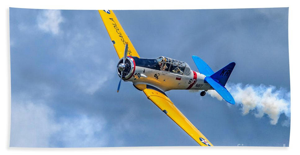 Airlplane Beach Towel featuring the photograph T-6 Texan Flying by Jerry Fornarotto