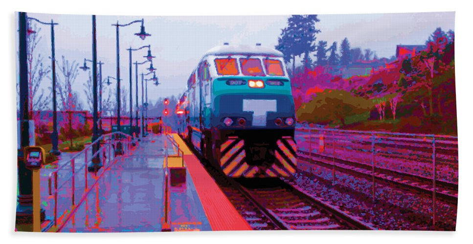 Abstract Beach Sheet featuring the digital art T Is For Train by James Kramer
