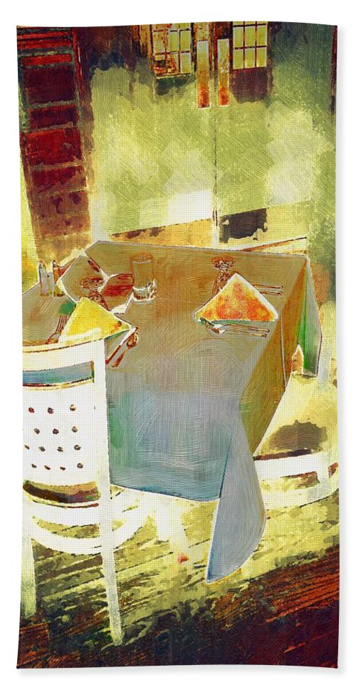 Cafe Beach Towel featuring the painting Table At The Fauve Cafe by RC DeWinter