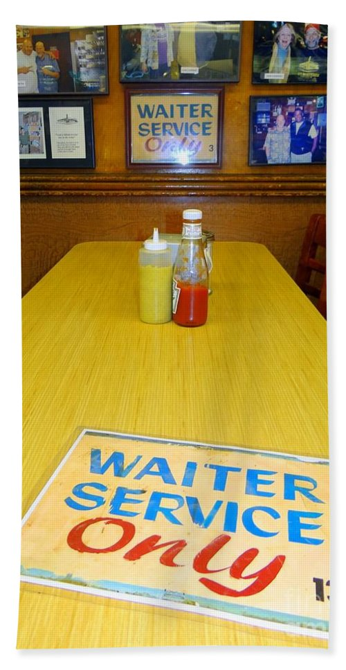 Katzs Deli Beach Towel featuring the photograph Table For 6 by Ed Weidman