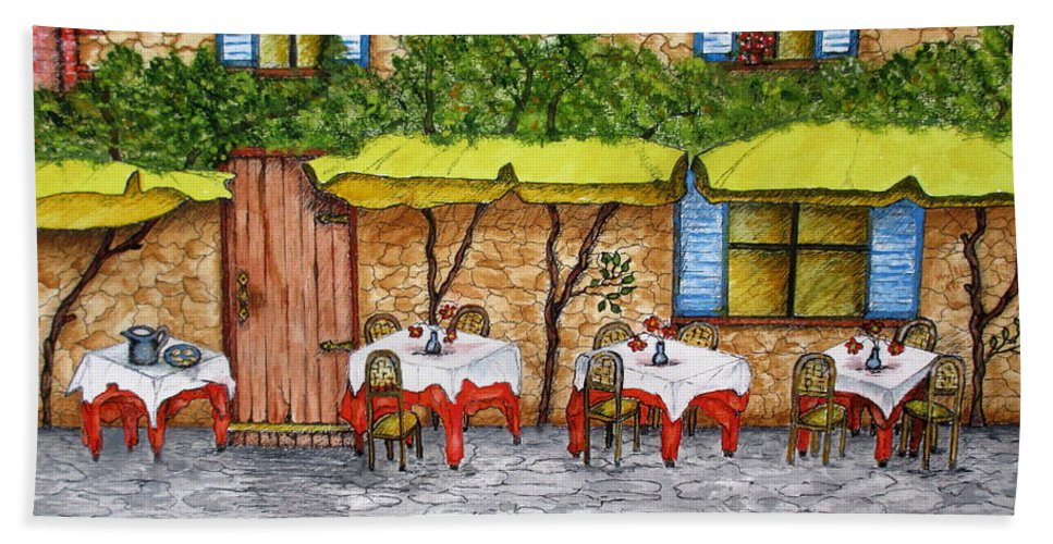 Tuscan Beach Towel featuring the painting Table For Three by Ashley Goforth